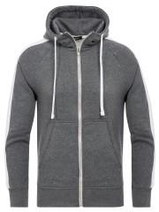 PITTMAN - Retro Zipper Hoodie Stripe - dark grey / white (0401)