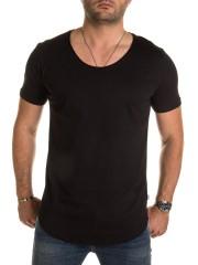 PITTMAN - Maxi Oversize Basic Tee V-Neck - black (164007)