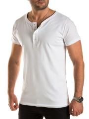 WOTEGA - V-Neck Double Layer T-Shirt Pete - cloud dancer (114201)