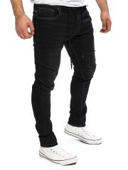 Yazubi - Erik Sweatpants in Jeans-Look - black meteorite (194008)